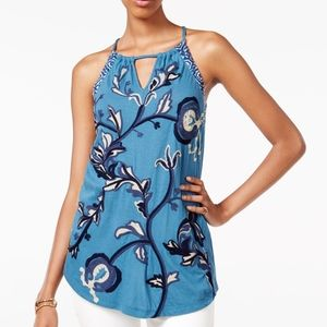 Lucky Brand embroidered halter top